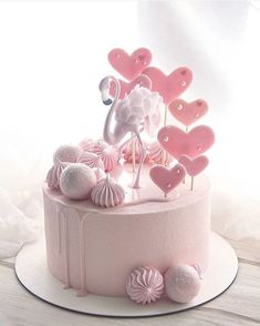 ☀️ 👋 💗 How magical is this flamingo cake by Wishing you a sweet and happy day! Elegant Birthday Cakes, Birthday Cake With Flowers, Cute Birthday Cakes, Beautiful Birthday Cakes, Beautiful Cakes, Amazing Cakes, 20th Birthday, Little Girl Birthday Cakes, Pretty Cakes