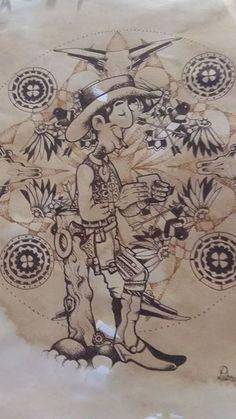 Steampunk Lucky Luke by Di Paterson, Pen and Ink on Paper (2015), Stabilo, Pens, Wild West, Commission, Steampunk, Cartoon www.facebook.com/Artfulfox1
