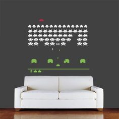 Space Invaders Wall Sticker (3 Colours) available from Vunk Wall Stickers http://www.vunk.co.uk/retro-wall-stickers/space-invaders-wall-sticker-3-colours.html