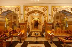 Opulent: The Raj Palace suite features lashings of gold leaf and marble...
