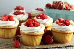 Yellow cupcakes, whipped vanilla buttercream and fresh strawberries make these strawberry shortcake cupcakes a fun variation of the summertime treat.