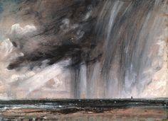 John Constable  [EnglishRomanticPainter, 1776-1837]  Seascape Study with Rain Cloud, 1827  oil on paper,22.2 × 31.1cm (8.7 × 12.2 in)  R...