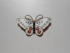 Sterling with black, white and red Enamel Butterfly Brooch, Norway