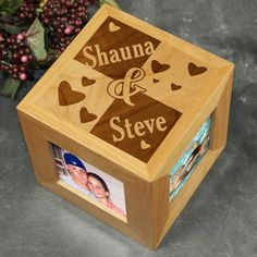 Personalized Love Photo Cube | Engraved Couples Photo Cube