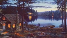 """Cabin on the lake in the Moonlight Image Size 20""""W x 10""""H"""
