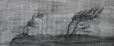 "Dan Miller- ''Trees and Fog, Maine''- woodcut ed. of 25, 9 5/8"" x 23 1/2''"
