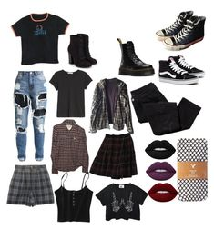 """""""Build a grunge inspired outfit"""" by sunsetsandflowers on Polyvore featuring Converse, Avon, rag & bone/JEAN, American Eagle Outfitters, Abercrombie & Fitch, Burkman Bros., Rena Rowan, Dr. Martens and JustFab"""