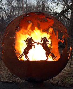 """""""Wildfire"""" Horse Themed Outdoor Fire Pit - Sphere Firebowl"""