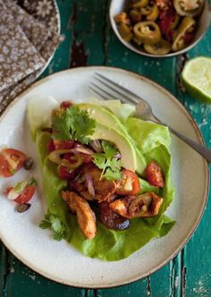 lettuce 'tacos' with chipotle chicken--leave out brown sugar for paleo