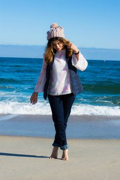 Timeless Optimist blog | bell sleeve top, levi jeans, pink hat, blue vest, fashion blog, petite fashion, fall fashion, thanksgiving look, lookbook, ocean, new jersey, long branch