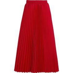 Balenciaga Pleated crepe midi skirt ($1,645) ❤ liked on Polyvore featuring skirts, bottoms, balenciaga, saia, pleated midi skirt, red pleated skirt, calf length skirts and balenciaga skirt