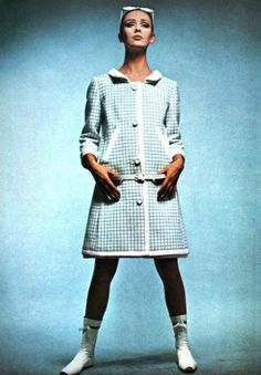 Ina Balke wears an outfit by Andre Courreges, May 1965.