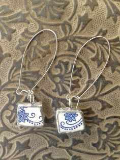 China  blue and white earrings by AzureJoyeria on Etsy
