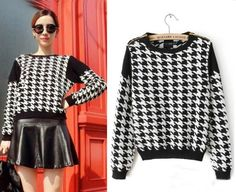 $12  2013 Winter Shoulder Zipper Decoration Black And White Plaid Houndstooth Long Sleeve Knit Pullover Sweater Knitwear Outwear Tops-in Pullover...