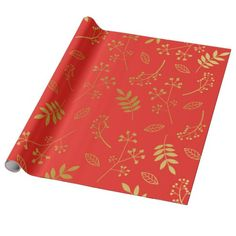 Botanical Floral Leaves Faux Gold Foil Holiday Red Wrapping Paper
