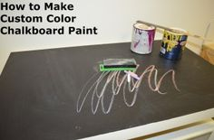 There are so many great uses for chalkboard paint and it is all the rage right now. Even more fun, you can create your own and it doesn't have to be black! You can make custom-color chalkboard paint! No more boring black or green (I did boring black- don't …
