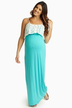 A solid maxi dress featuring a cinched under bust style and feminine lace overlay detail to give you a flirty, fun, and flattering maxi this warm weather season. Jade-Ivory-Lace-Overlay-Maternity-Maxi-Dress