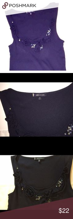 AK Anne Klein Dark Blue Embellished Dressy Tank AK Anne Klein Dark Blue Embellished Dressy Tank Top.  Size M  Embellished with polished stones and crystals. Anne Klein Tops Tank Tops