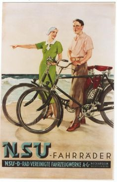 Original Vintage Poster NSU German Bicycles Beach Tour C1935 | eBay