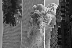"""""""The second plane flew directly over my head and slammed into the South Tower. It took me a few seconds to get my head together, and this was the shot I took,"""" September Photo credit: Marc A. Garrett — in New York, New York. Guernica, 911 Twin Towers, World Trade Center Collapse, 11 September 2001, New York City, North Tower, Internet Art, How To Lean Out, We Will Never Forget"""