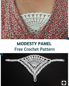 Crochet Edging Clever Crochet Modesty Panel Pattern - What a fantastic idea! Say bye to having to use a tank top or other layer. This crochet modesty panel pattern is really fabulous! Pull Crochet, Mode Crochet, Thread Crochet, Double Crochet, Crochet Blouse, Crochet Shawl, Knit Crochet, Ravelry Crochet, Crochet Humor