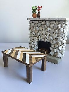 White Stone Rustic Barbie Size Fireplace w/ Lath Coffee Table - Plant - 1:6 | great idea for fireplace and table....