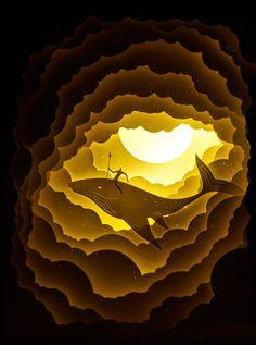 one of Hari & Deepti's amazing backlit, cut-paper dioramas