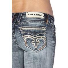 Pre-owned Rock Revival Skinny Jeans ($115) ❤ liked on Polyvore featuring jeans, denim, fleur de lis jeans, skinny leg jeans, embellished skinny jeans, embellish jeans and rock revival