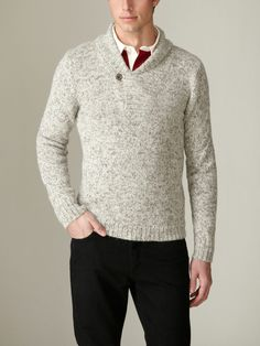 Faconnable - Marled Alpaca Knit Pullover, in beige    Interesting Texture.