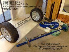 My Home Gym/Crossfit equipment. Custom DIY 2m Olympic tyre Bumper barbell , DIY Screw in Barbell. DIY Weight plates