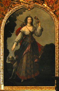 Diane de Poitiers as huntress in the Salon de François Ier,Chateau de Chenonceau in France