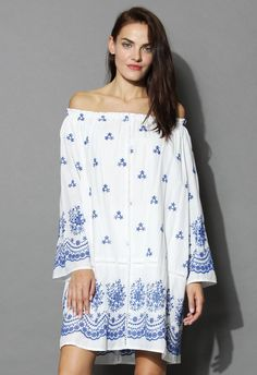 Meadow of Love Off-shoulder Dress in Blue - Retro, Indie and Unique Fashion