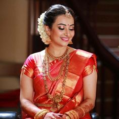 Contact us for more details South Indian Bride Saree, Kerala Bride, Indian Wedding Jewelry, Indian Bridal, Bridal Jewellery, Indian Weddings, Bridal Beauty, Bridal Makeup, Photoshoot Makeup