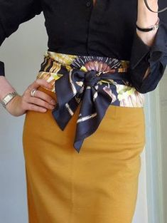 Hermes scarf worn as a belt, a great idea to brighten up an outfit How To Wear Belts, Ways To Wear A Scarf, How To Wear Scarves, Wearing Scarves, Silk Scarves, Knit Scarves, Hermes Scarves, Hermes Bags, Hermes Handbags