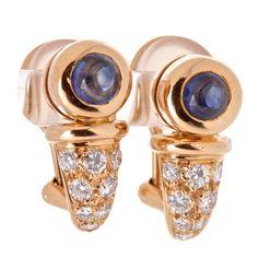 CHAUMET Diamond and Blue Sapphire Gold Huggie Earrings