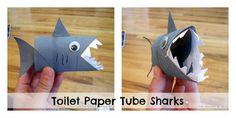Homemade Shark - 60 Homemade Animal Themed Toilet Paper Roll Crafts, http://hative.com/homemade-animal-toilet-paper-roll-crafts/,