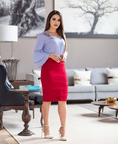 Image may contain: 1 person, standing and indoor Sunday Outfits, Office Outfits, Classy Work Outfits, Cool Outfits, Couture Dresses, Fashion Dresses, Skirt And Top Dress, Corsage, Conservative Fashion