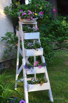 Creative Ladder Decorating Idea. http://hative.com/creative-ladder-ideas-for-home-decoration/