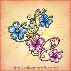 3 monogrammi in corsivo elegante e fiori di hibiscus: tattoo SV-IC-DY | tattoo diyartcraft