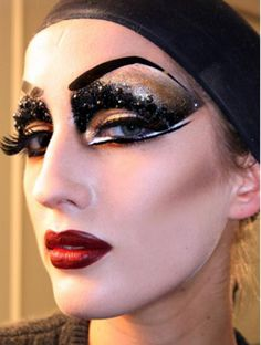 DIOR Runway Make-Up.... kinda drag queen meets 20's but fun for a show!