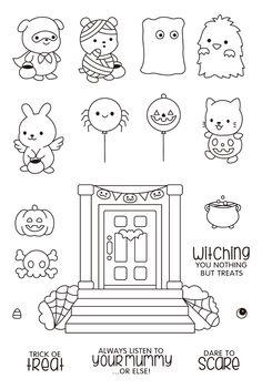Scrapbooking, Diy Scrapbook, Halloween, Cheap Stamps, Tampons Transparents, Doodles, Arts And Crafts, Paper Crafts, Doodle Lettering
