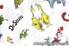 SO MANY lovely Dr Suess fabrics at http://www.missouriquiltco.com, including this one: Celebrate Seuss - Characters SKU