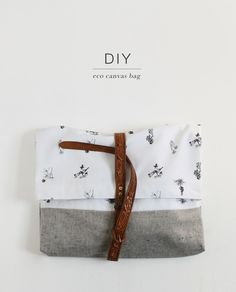 DIY Fashion forward Eco Canvas fold-over bag with leather detailing