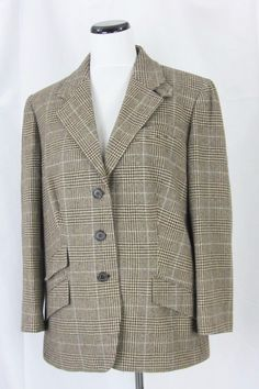Ralph Lauren Brown Light Blue Plaid Wool Plus Blazer Jacket size 16W #RalphLauren #Blazer