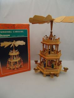 Vintage Christmas Around The World Windmill Carousel Pyramid 3 Tier Candle