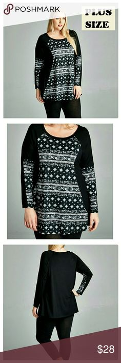 JUST IN: Plus size LS Patterned Tunic Top NWOT Comfortable with LOTS of stretch, looks great over legging, long sleeve, soft to the touch, flattering A line shape. 95%Rayon, 5% Spandex.   Please order as per measurements.  Measurements taken laying flat in inches.  The 1x fit easily on me , my bust is 46 in and hips are 43 in. The top ran just slightly big on me.   Bust/Length/Sleeve/Hips 1X:  21/ 29 / 24 / 27  2X: 22/ 29 /24 /29 3X: 23/ 30/ 24 /31  PRICE FIRM UNLESS BUNDLED. Tops Tees…