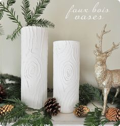 DIY Faux Bois Vases.  Take a glass cylinder vase, DAP household silicone sealant, frosted spray paint, and white spray paint or primer. Use silicone to draw bark on clean, dry vase, let sit for 24 hours, hit with coat of frost, let dry, then finish with coat of spray paint/primer. Genius.    http://www.centsationalgirl.com/2011/11/diy-faux-bois-vases/#more-24202