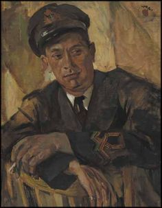 Frederick Varley - Portrait of a Naval Officer Harry Kelman x Oil on canvas Group Of Seven Artists, Oil Portrait, Canadian Artists, Oil On Canvas, Coloring Books, Museum, War, Painting, Image