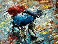Rain Painting, Painting & Drawing, Watercolor Paintings, Autumn Painting, Rain Art, Umbrella Art, Blue Umbrella, Colorful Paintings, Pictures To Paint