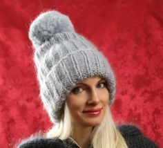 New Hand Knitted Mohair Sweater Hat Fuzzy LIGHT GRAY Ski Thick Cap SUPERTANYA
